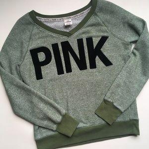 PINK Victoria's Secret Green Sweatshirt Velvet